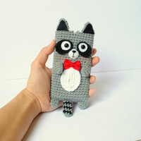 Crocheted Raccoon Cell Phone Cozy - (Made to Order)