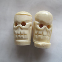 Big skull beads, ox bone beads, skeleton head beads
