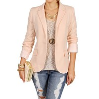 Pre-Order: Peach Rayon Boyfriend Blazer