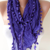 New - Mother&#x27;s Day Gift -  Purple Cotton Scarf with Pompom Trim Edge