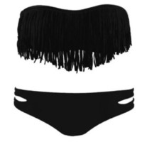Fashionwoman  Women&#x27;s Sexy Tassel Padded Bandeau Fringe Bikini
