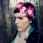 pixie petals . . Floral Crown // Headband Garland / Pink Flower Festival Hippie Boho Woodland