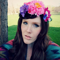 forest fae . . Floral Crown // Headband Garland / Pink Flower Festival Hippie Boho Woodland