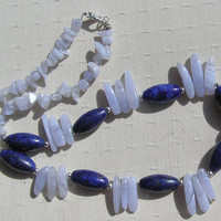 "Lapis Lazuli & Blue Chalcedony Crystal Gemstone Necklace - ""Blue Moon"" - Special Offer Price"