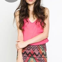 Tribal print body-con skirt