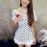 Black on white Polka Dot bow shawl T-shirt_T-shirts_Shirts_Mili fashion Trade Co.Ltd