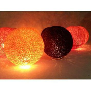 I Love Handicraft Orange Red and Black Color Set Cotton Ball String Lights Patio Wedding and Party Decoration (20 Balls/set)