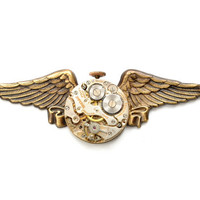 Steampunk Jewelry Necklace Steampunk Vintage Watch Military Wings Necklace Airship Pirate Steampunk Jewelry By Victorian Curiosities