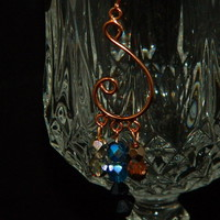 Copper Colored Musical Note Shaped Handmade Earrings