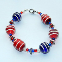 Beaded Red White and Blue Bracelet