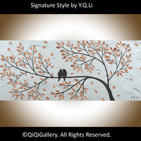 Landscape Painting Abstract birds Painting Modern by QiQiGallery
