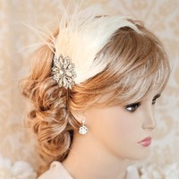 1920s Gatsby Bridal Hair, Feather Bridal Headband, Vintage Bridal Headband, Wedding Hairband - GINGER
