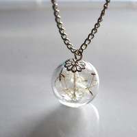 Silver Dandelion Necklace Real Seeds Wish by NaturalPrettyThings
