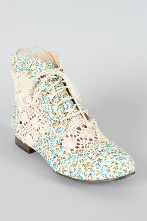 Privileged Liz Crochet Granny Floral Ankle Bootie