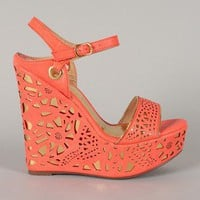 Punite-1 Perforated Open Toe Platform Wedge