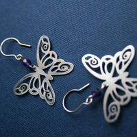 Butterfly earrings stainless steel earrings by HorakovaDesigns