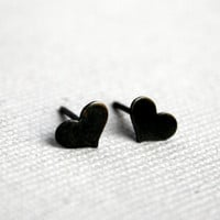 Tiny Oxidized Black Sterling Silver Heart Studs