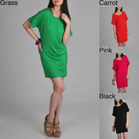 24/7 Comfort Apparel Women&#x27;s Oversized T-shirt Dress | Overstock.com