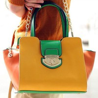 Casual Womens Color Blocking Handbag Totes Small Chain Shoulder Bags Korean AZ