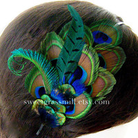 Peacock Headband - MEZZANINE - Luxe Peacock and Pheasant - Choose Headband or Fascinator Clip