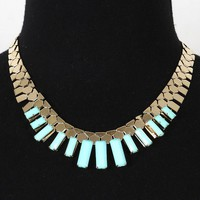 Gold Turquoise Linear Bib Necklace and Shop Accessories at MakeMeChic.com