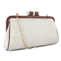 Miadora &#x27;Lady Pia&#x27; Soft Grey Clutch | Overstock.com