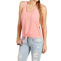 Peach Tie Front Sleeveless Top
