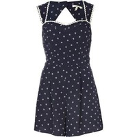 navy boat print waisted playsuit - playsuits - playsuits / jumpsuits - women - River Island