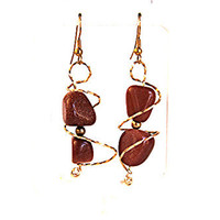Goldstone Orbit Earrings