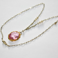 Art Deco Necklace Pink Crystal Pendant Seed Pearl 1930s Jewelry