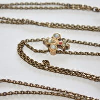 Art Deco Necklace Slide Fleur De Lis Opal Ruby Seed Pearl Watch Chain 1920s