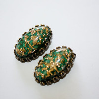 Vintage Lucite Earrings Gold Foil 1970s Jewelry