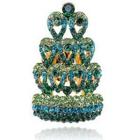 Amazon.com: Magnificent Crown Emerald Green Crystal Blue Rhinestone Peacock Tail Crown Ring: Jewelry