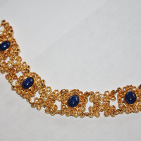 Vintage Bracelet Faux Blue Lapis Filigree Pearl 1970s Jewelry