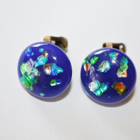 Vintage Earrings Blue Art Glass 1940s Jewelry