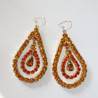 Vintage Dangle Earrings Orange Rhinestone Tear Drops 1950s Jewelry