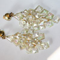 Vintage Cascade Earrings Lucite Crystal Dangle 1950s Jewelry