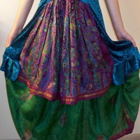 Gypsy Double Skirt Upcycled Sari Green Raspberry Blue Velvet Boho Chic | DiscordThreads - Clothing on ArtFire