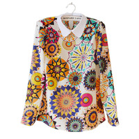 The Vintage Flower Chiffon Slim Blouse