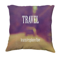 "Throw Pillow-Home Decor- ""Travel"" 18 x 18 Pillow-Typography- Wanderlust Inspired -Home Decor-"