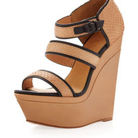 Inesa Snakeskin Wedge, Tan/Black