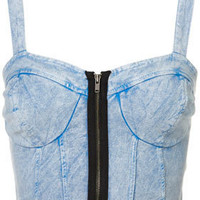 MOTO Denim Zip Bralet - Tops - Apparel - Topshop USA