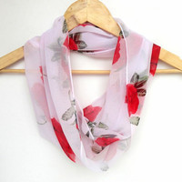 infinity scarf with red rose pattern chiffon fabric scarf, loop scarf, summer fashion scarf , new trendscarf