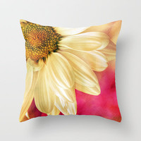 Daisy - Golden on Pink Throw Pillow by micklyn