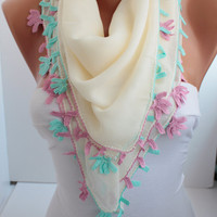 NEW- Cremy Shawl Scarf  Oya Headband- Crochet edge scarf- cotton scarf- headband scarf