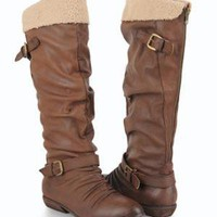 Fleece Trimmed High Boots