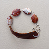 Red agate, sterling silver and reclaimed leather bracelet - eco jewelry - stone bracelet - rustic bracelet - chunky leather jewelry - men's