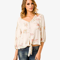 Dainty Floral Knotted Top
