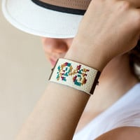 Floral embroidered bracelet - leather bracelet - br003
