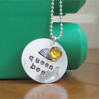 Queen bee necklace with sterling silver hand stamped &quot;queen bee&quot; charm and amber Swarovski crystal